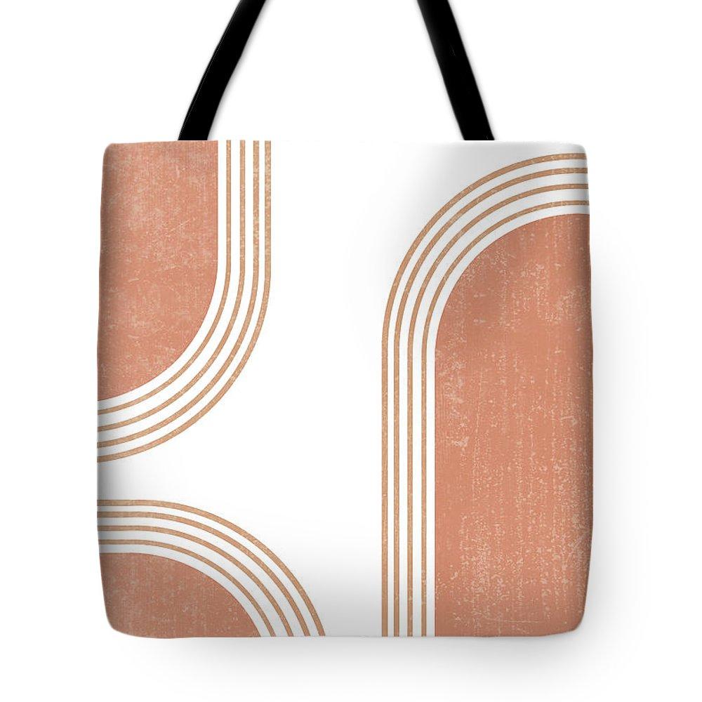 Mid Century Modern Tote Bag featuring the mixed media Mid Century Modern 4 - Geometrical Abstract - Minimal Print - Terracotta Abstract - Burnt Sienna by Studio Grafiikka
