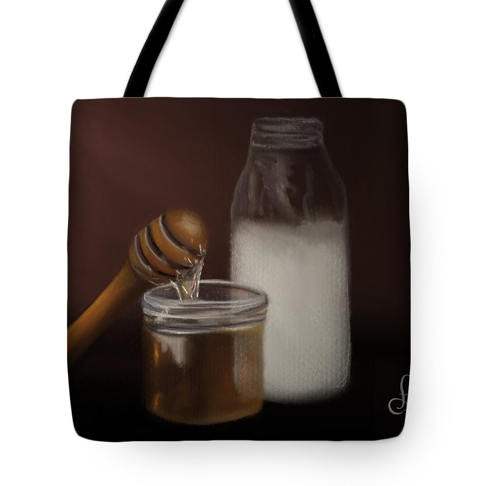 Tote Bag featuring the painting Milk And Honey by Fe Jones