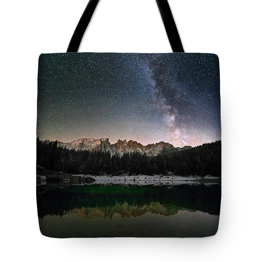 Scenics Tote Bag featuring the photograph Milky Way In The Alps by Scacciamosche