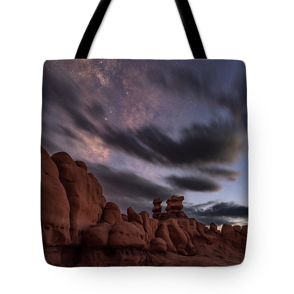 Milkyway Tote Bag featuring the photograph Milky Way Rises Over Goblins by Marybeth Kiczenski