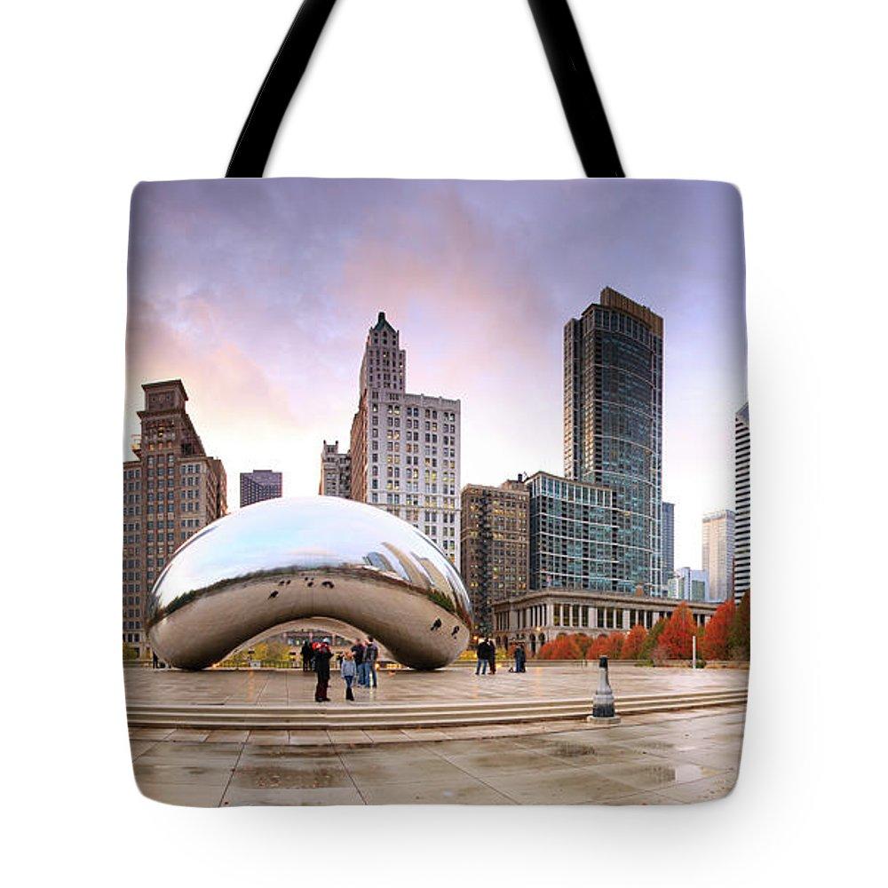Dawn Tote Bag featuring the photograph Millennium Park, Chicago, Illinois,usa by Travelpix Ltd