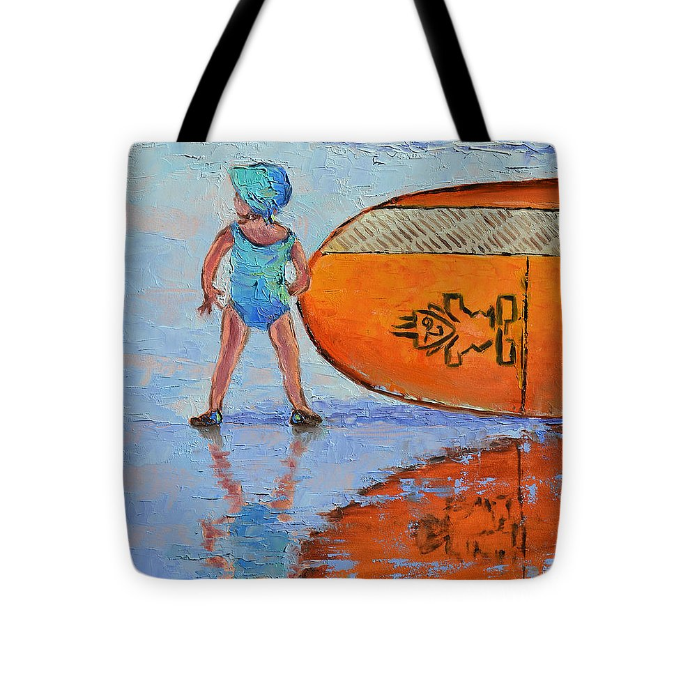 Toddler Tote Bag featuring the painting Mini Paddler by Lynee Sapere