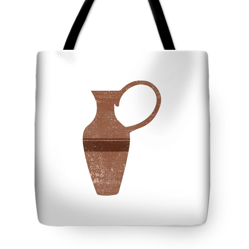 Abstract Tote Bag featuring the mixed media Minimal Abstract Greek Vase 14 - Lekythos - Terracotta Series - Modern, Contemporary Print - Brown by Studio Grafiikka
