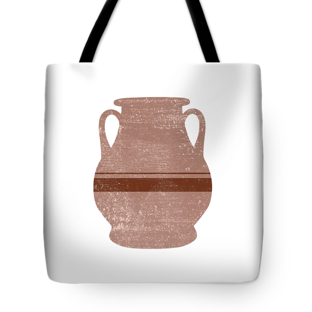 Abstract Tote Bag featuring the mixed media Minimal Abstract Greek Vase 16 - Pelike - Terracotta Series - Modern, Contemporary Print - Tan by Studio Grafiikka