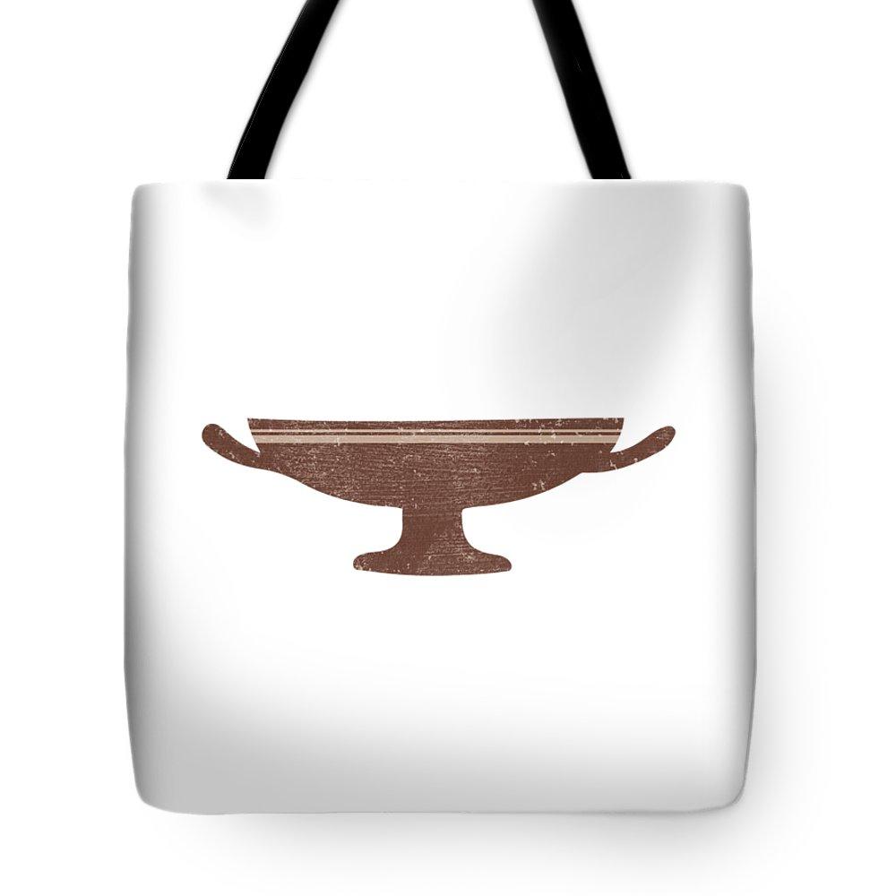 Abstract Tote Bag featuring the mixed media Minimal Abstract Greek Vase 18 - Kylix - Terracotta Series - Modern, Contemporary Print - Auburn by Studio Grafiikka