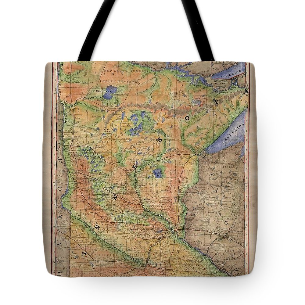 Minnesota Tote Bag featuring the painting Minnesota Historic Wagon Roads Hand Painted by Lisa Middleton