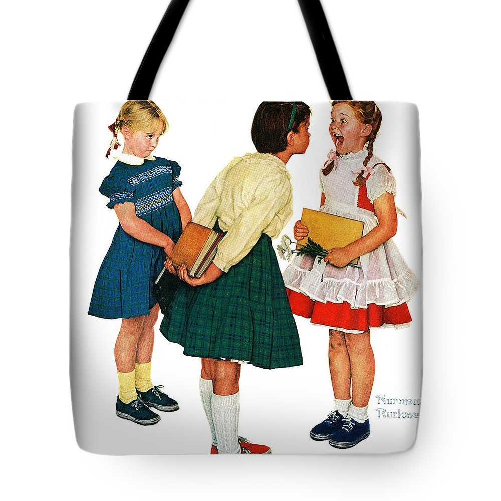Books Tote Bag featuring the drawing Missing Tooth by Norman Rockwell