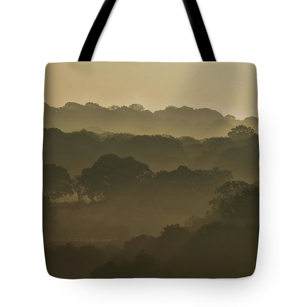 Mist Tote Bag featuring the photograph Mist Across The Valley by Jason Jones