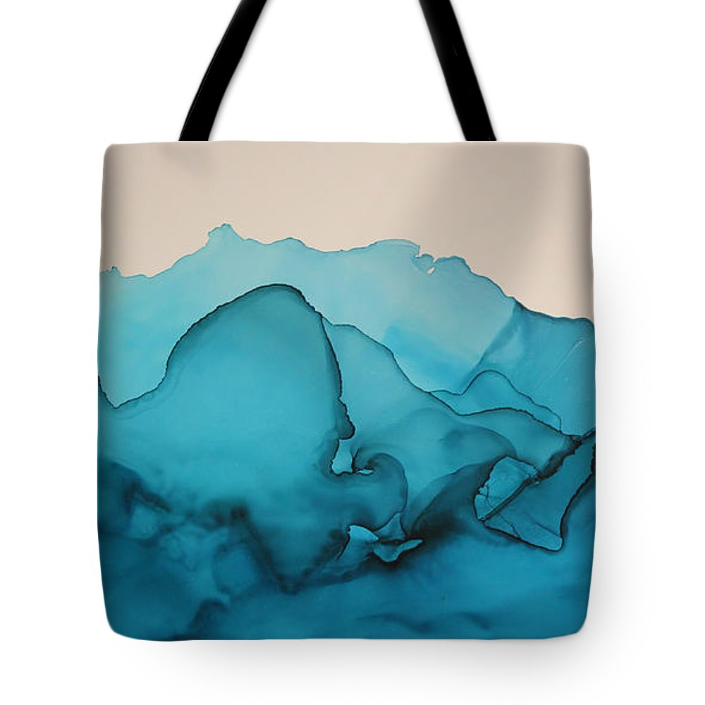 Misty Range Kelly Gowan Kellygowan Blue Turquoise Teal Navy Water Waves River Lake Stream Ocean Alcohol Ink Blue Modern Abstract Painting Mountain Mountains Tote Bag featuring the painting Misty Range by Kelly Gowan