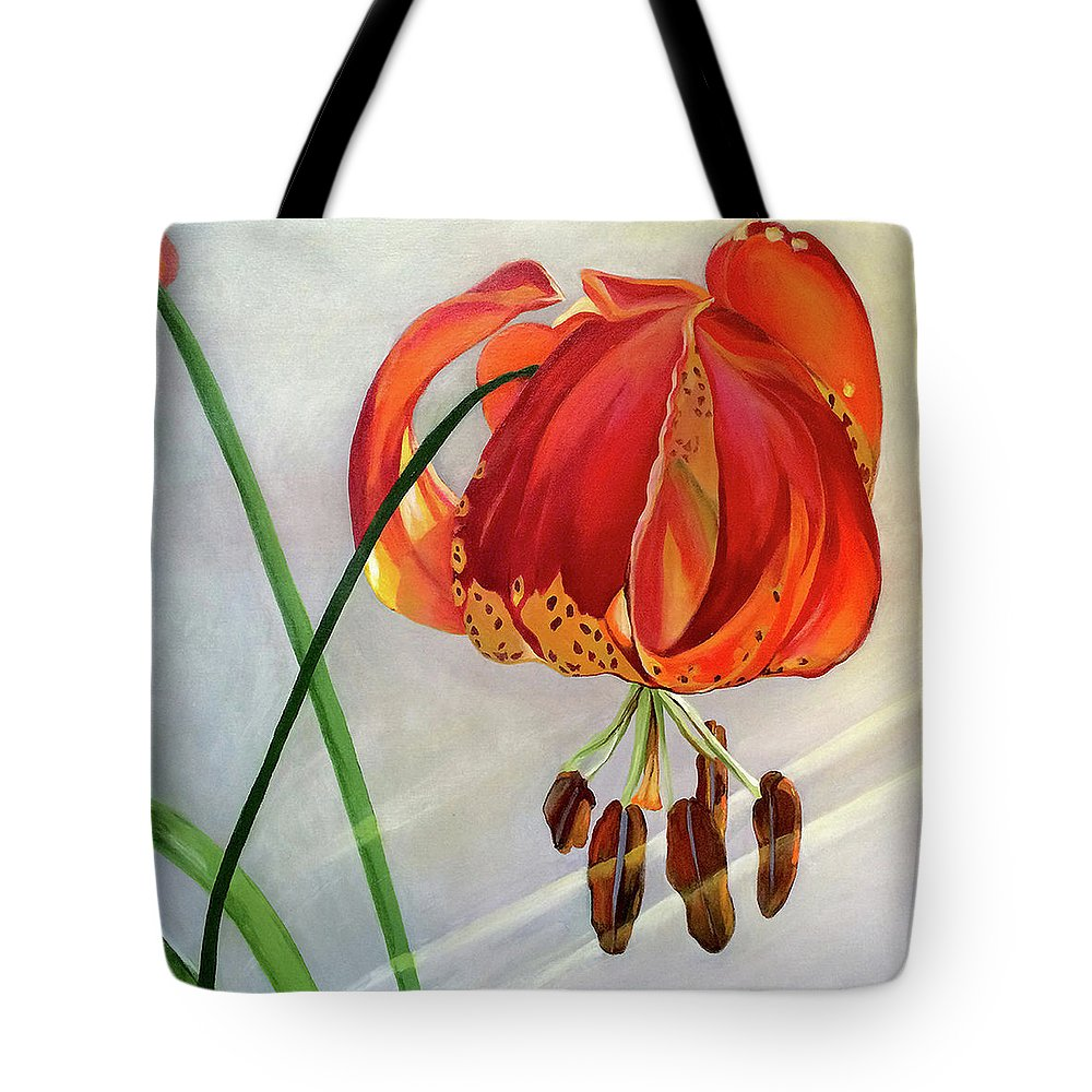 Painting Tote Bag featuring the painting Moment in the Sun - Lily by Mary Chant