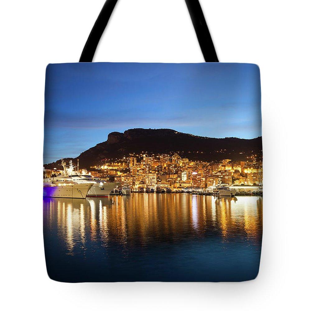 Monaco Tote Bag featuring the photograph Monaco At Twilight by Artur Bogacki