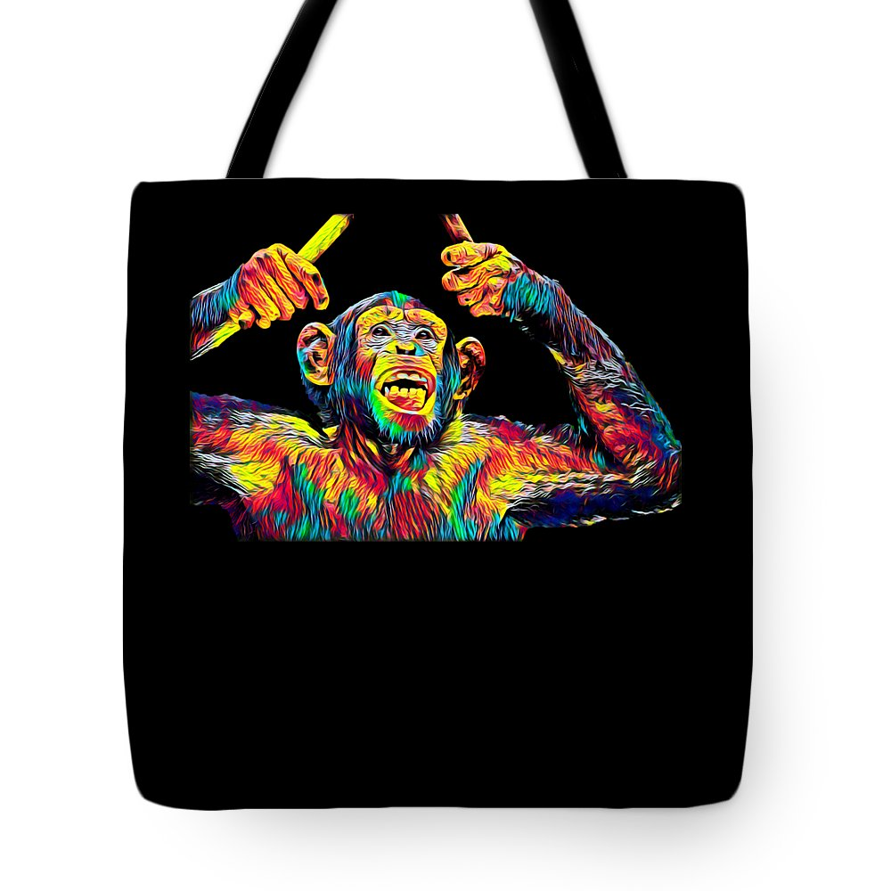 Cool Tote Bag featuring the digital art Monkey Drummer Gift For Musicians Color Design by Super Katillz