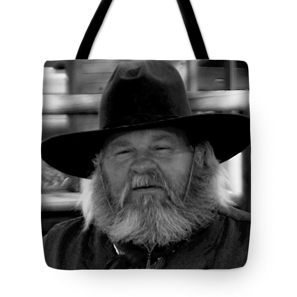 Mono Tote Bag featuring the photograph Mono Cowboy by John Hughes
