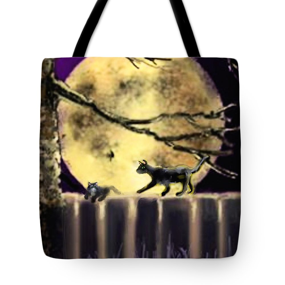 Animals Tote Bag featuring the painting Moon Cats by Robert Rearick