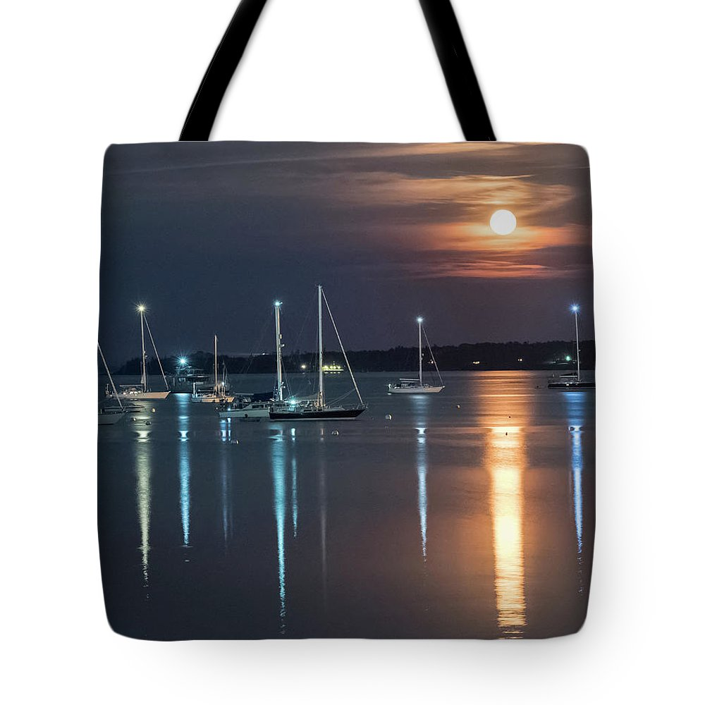 Rockland Harbor Tote Bag featuring the photograph Moon Over Rockland by Ralph Staples