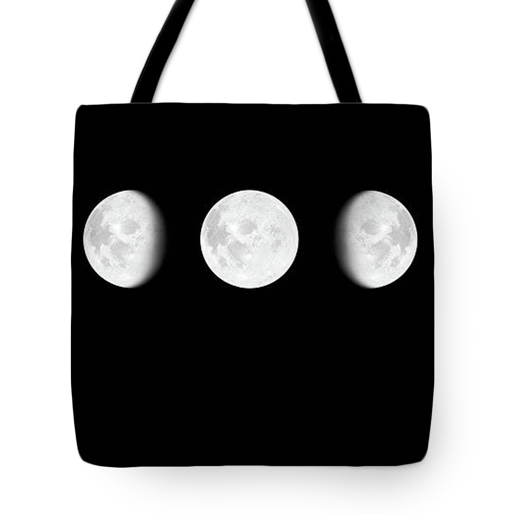 Sequential Series Tote Bag featuring the photograph Moon Surface With Different Phases Xxxl by Cruphoto