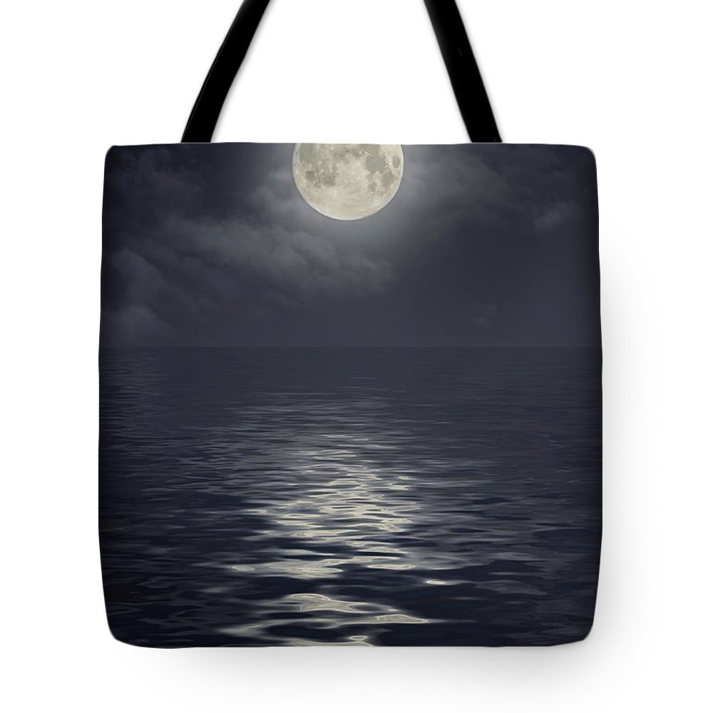 Scenics Tote Bag featuring the photograph Moon Under Ocean by Andreyttl
