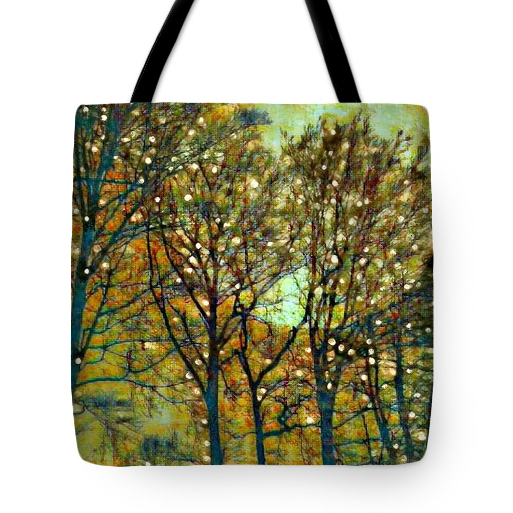 Trees Tote Bag featuring the digital art Moonglow by Ellen Cannon