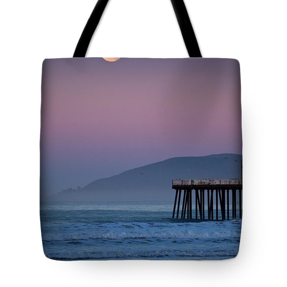 Pismo Beach Tote Bag featuring the photograph Moonset At Pismo Beach by Mimi Ditchie Photography