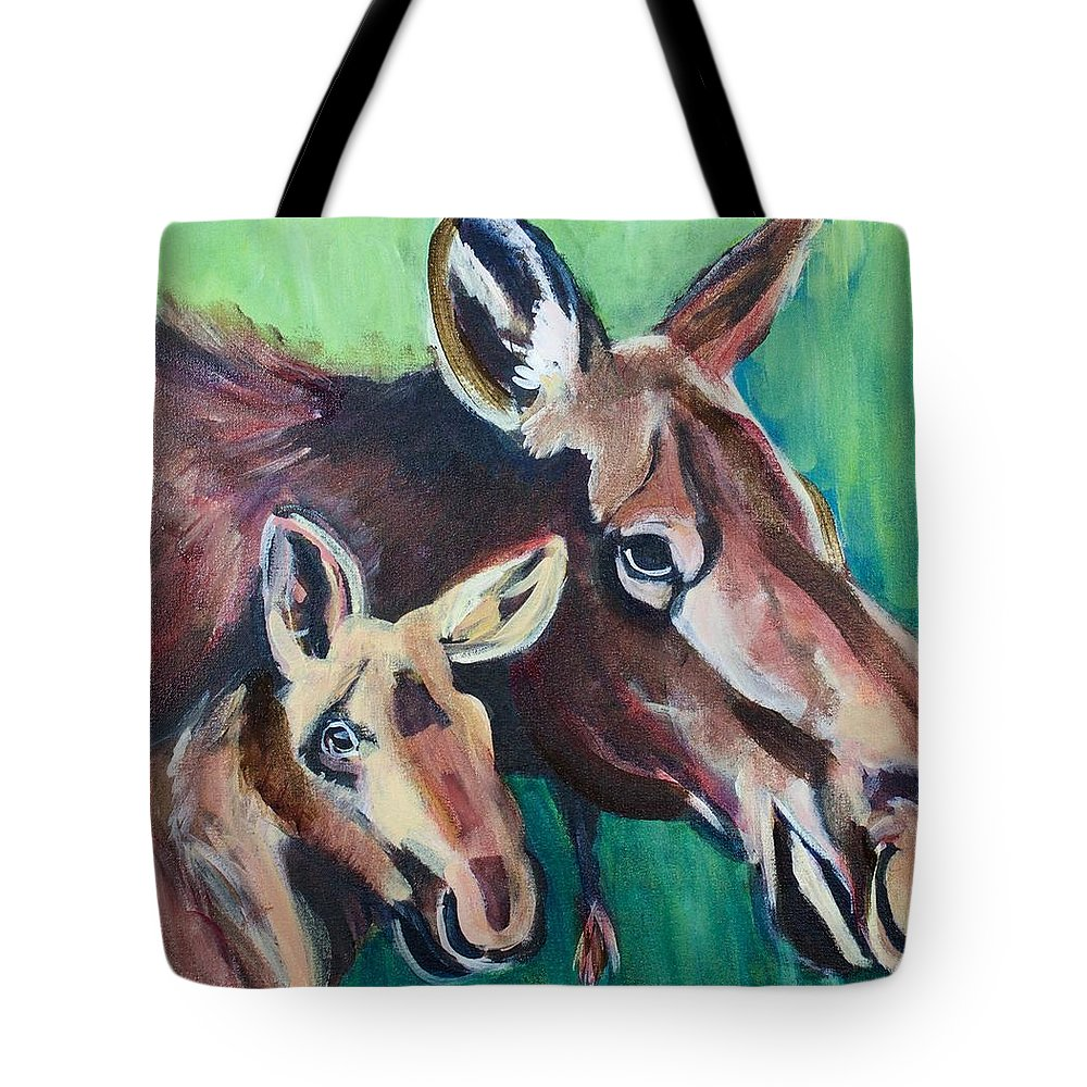 Acrylic Tote Bag featuring the painting Moose In Spring by Nickie Perrin Paintings