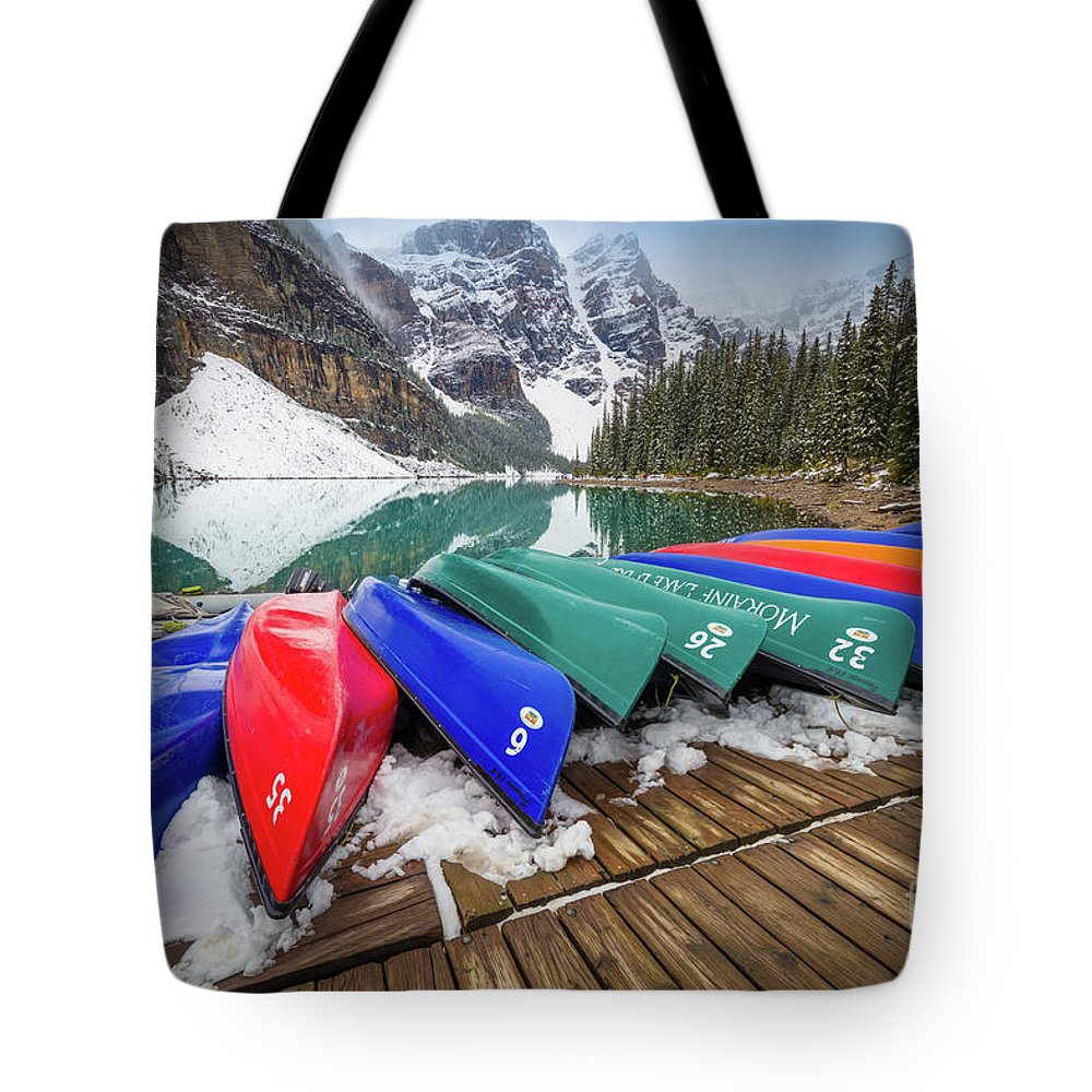 Alberta Tote Bag featuring the photograph Moraine Lake Canoes by Inge Johnsson