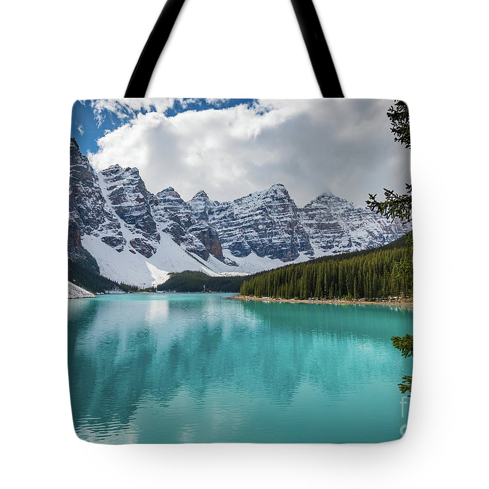 Alberta Tote Bag featuring the photograph Moraine Lake Range by Inge Johnsson