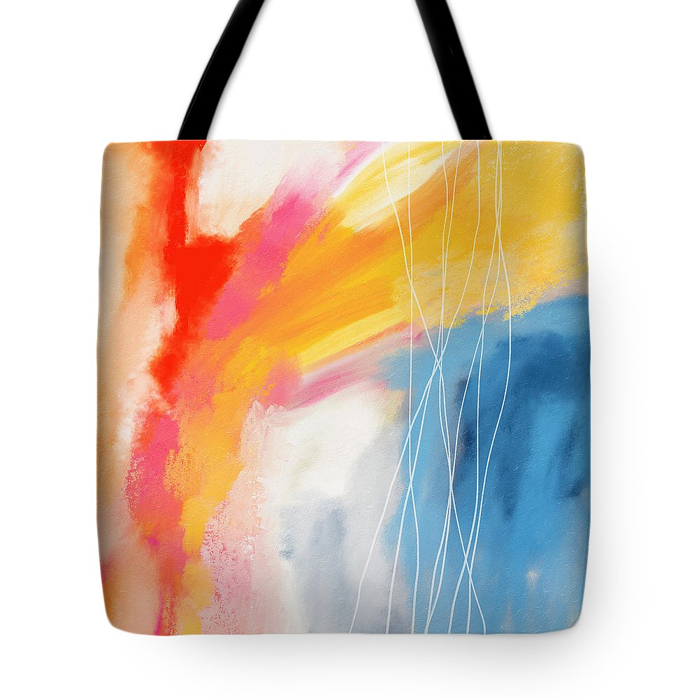 Abstract Tote Bag featuring the mixed media Morning 2- Art by Linda Woods by Linda Woods