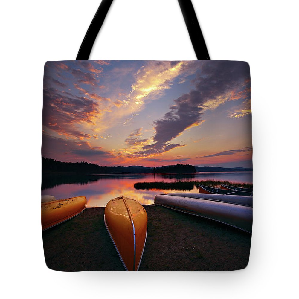 Tranquility Tote Bag featuring the photograph Morning At Lake Of The Two Rivers by Henry@scenicfoto.com
