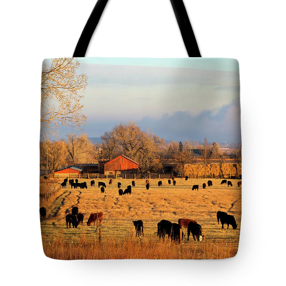 Scenics Tote Bag featuring the photograph Morning Farm Scene by Beklaus