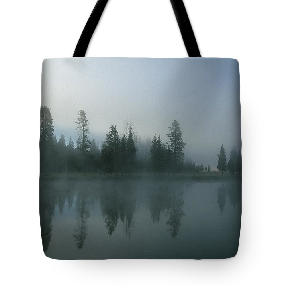 Mystery Tote Bag featuring the photograph Morning Fog Over Yellowstone River by Design Pics/natural Selection Robert Cable