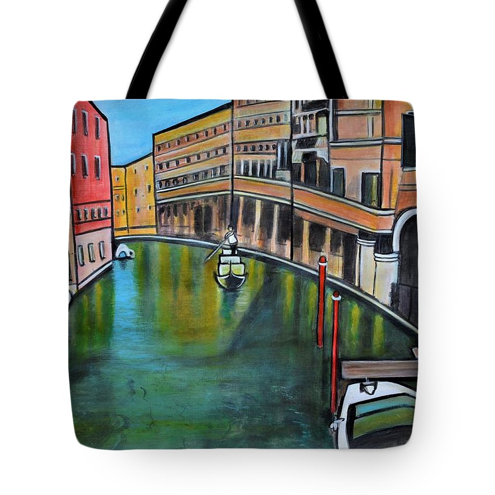 Venicepainting Tote Bag featuring the painting Morning in Venice landscape Italy by Manjiri Kanvinde