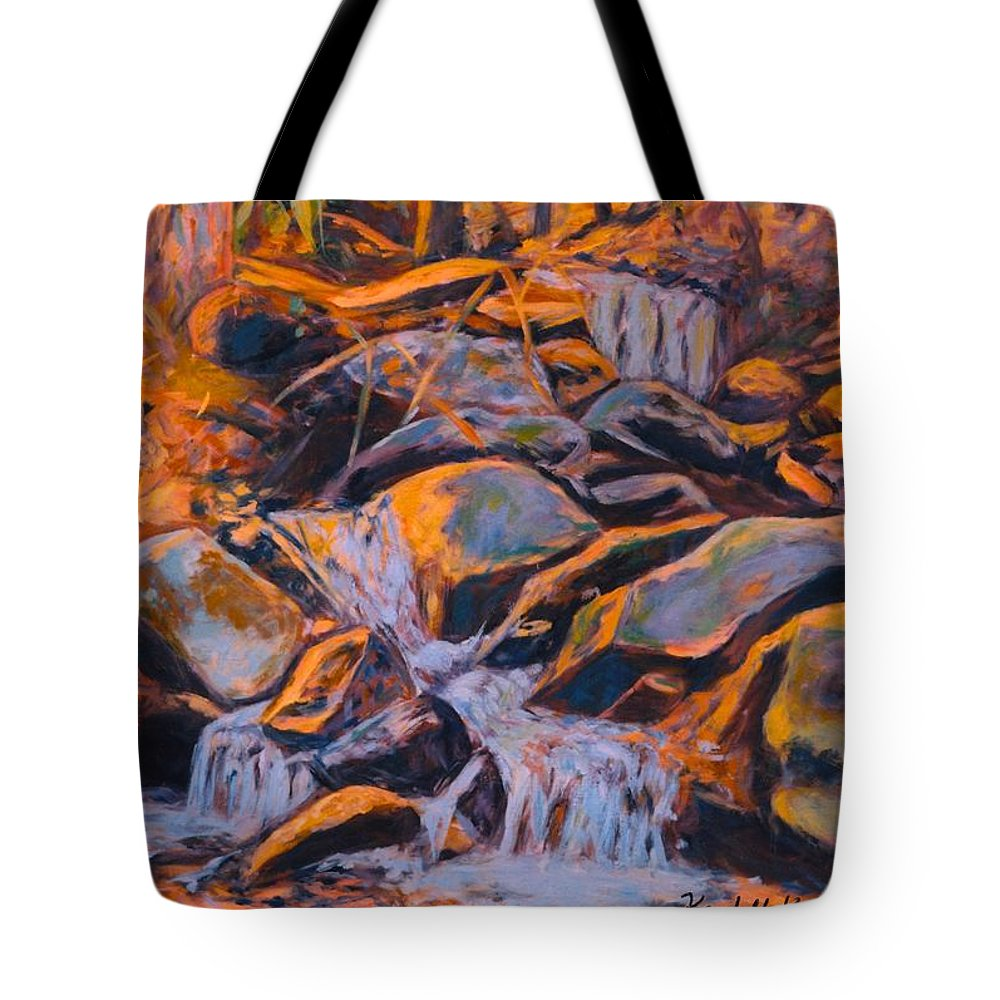 Rocks Tote Bag featuring the painting Morning Light by Kendall Kessler