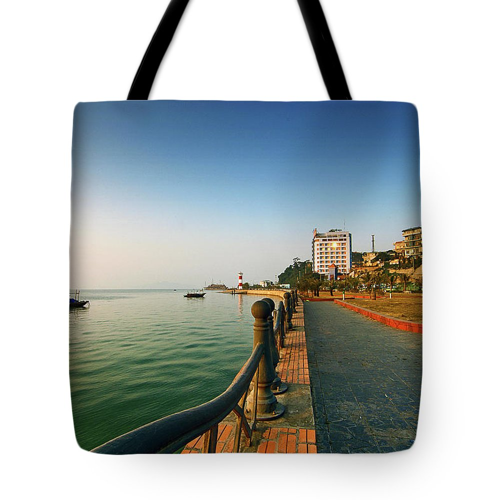 Dawn Tote Bag featuring the photograph Morning Of Halong Bay by Andy Tan