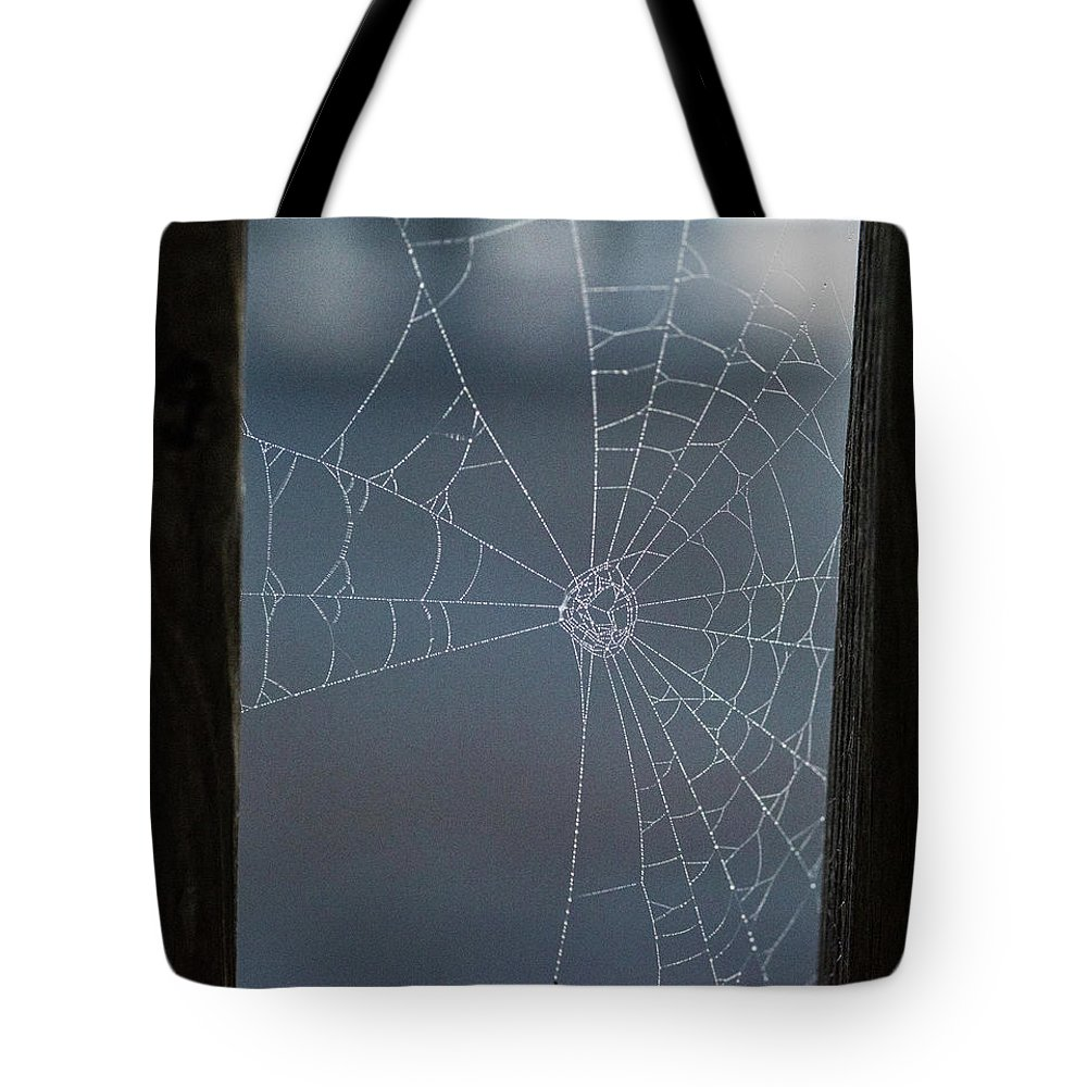 Nags Head Tote Bag featuring the photograph Morning Spider Web by Robert Moorhead