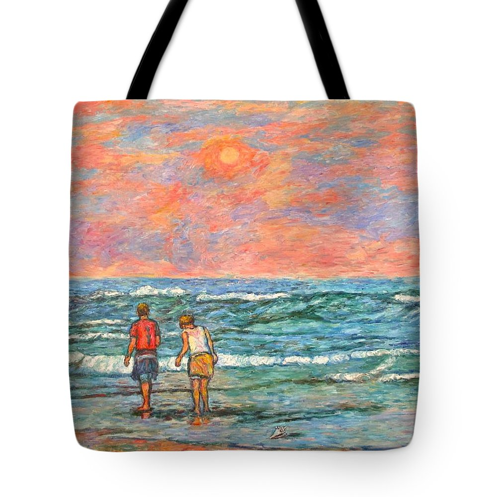 Isle Of Palms Tote Bag featuring the painting Morning Stroll At Isle Of Palms by Kendall Kessler