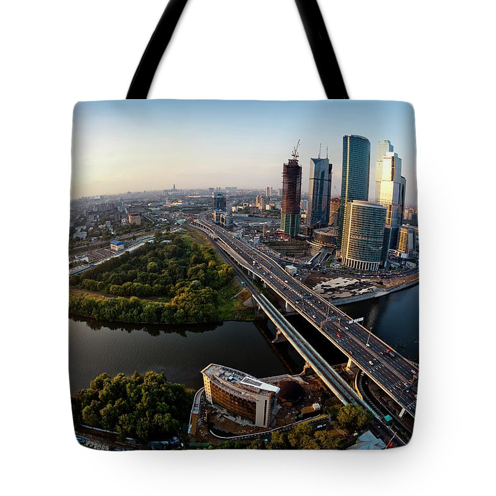 Industrial District Tote Bag featuring the photograph Moscow Skyline. Aerial View. Fisheye by Mordolff