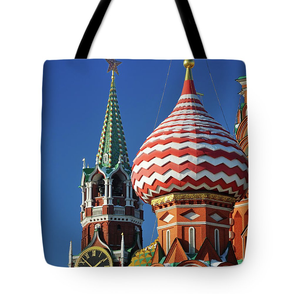 Built Structure Tote Bag featuring the photograph Moscow, Spasskaya Tower And St. Basil by Vladimir Zakharov