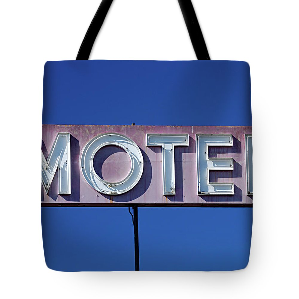 Clear Sky Tote Bag featuring the photograph Motel Sign by Eyetwist / Kevin Balluff