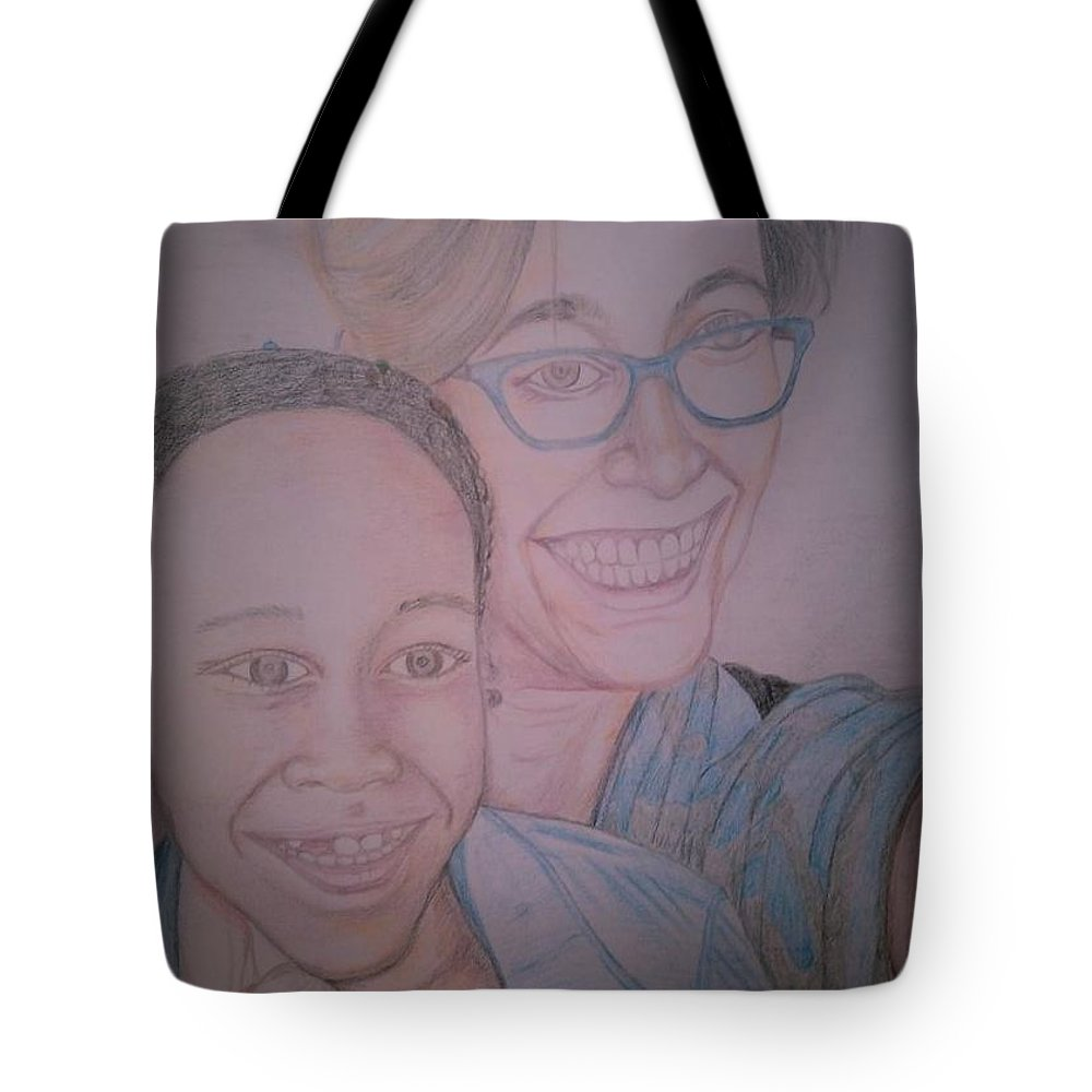 Drawing Tote Bag featuring the drawing Mother and Daughter by Andrew Johnson