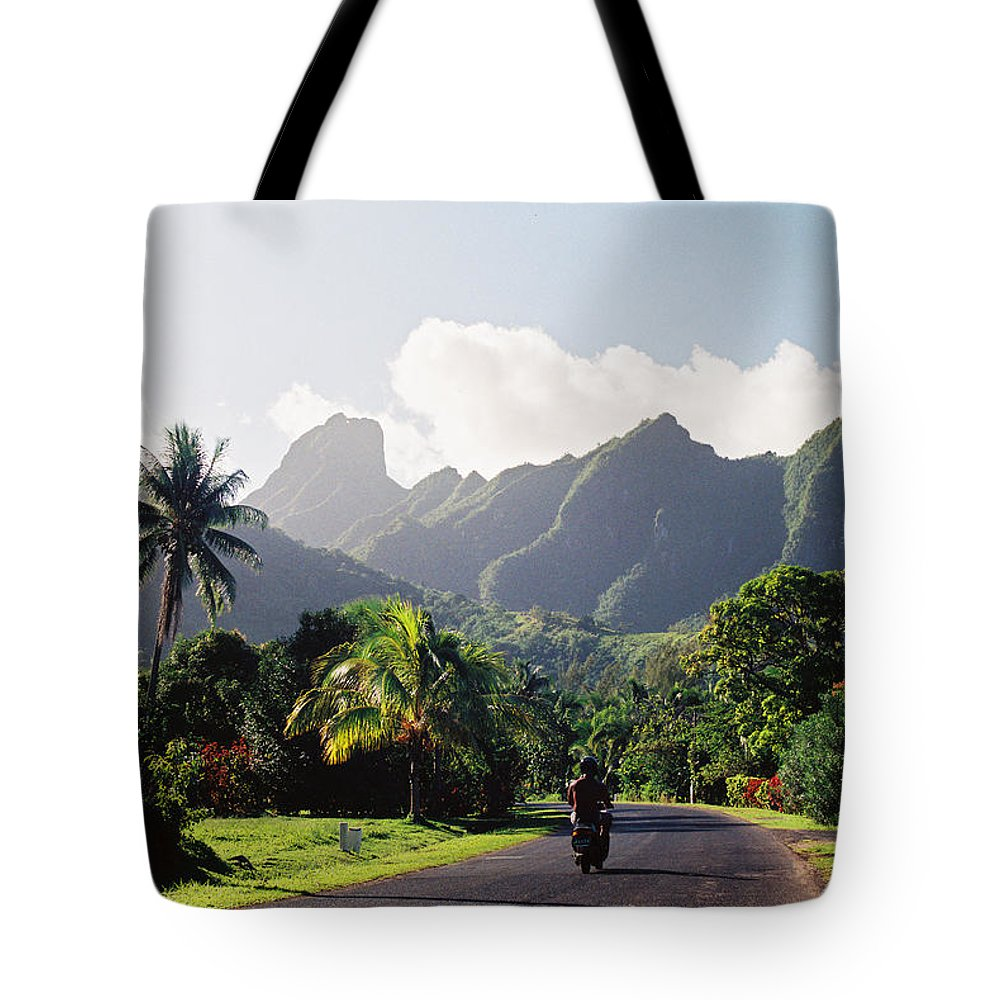 Shadow Tote Bag featuring the photograph Motorcyclist On Polynesian Road by Ejs9
