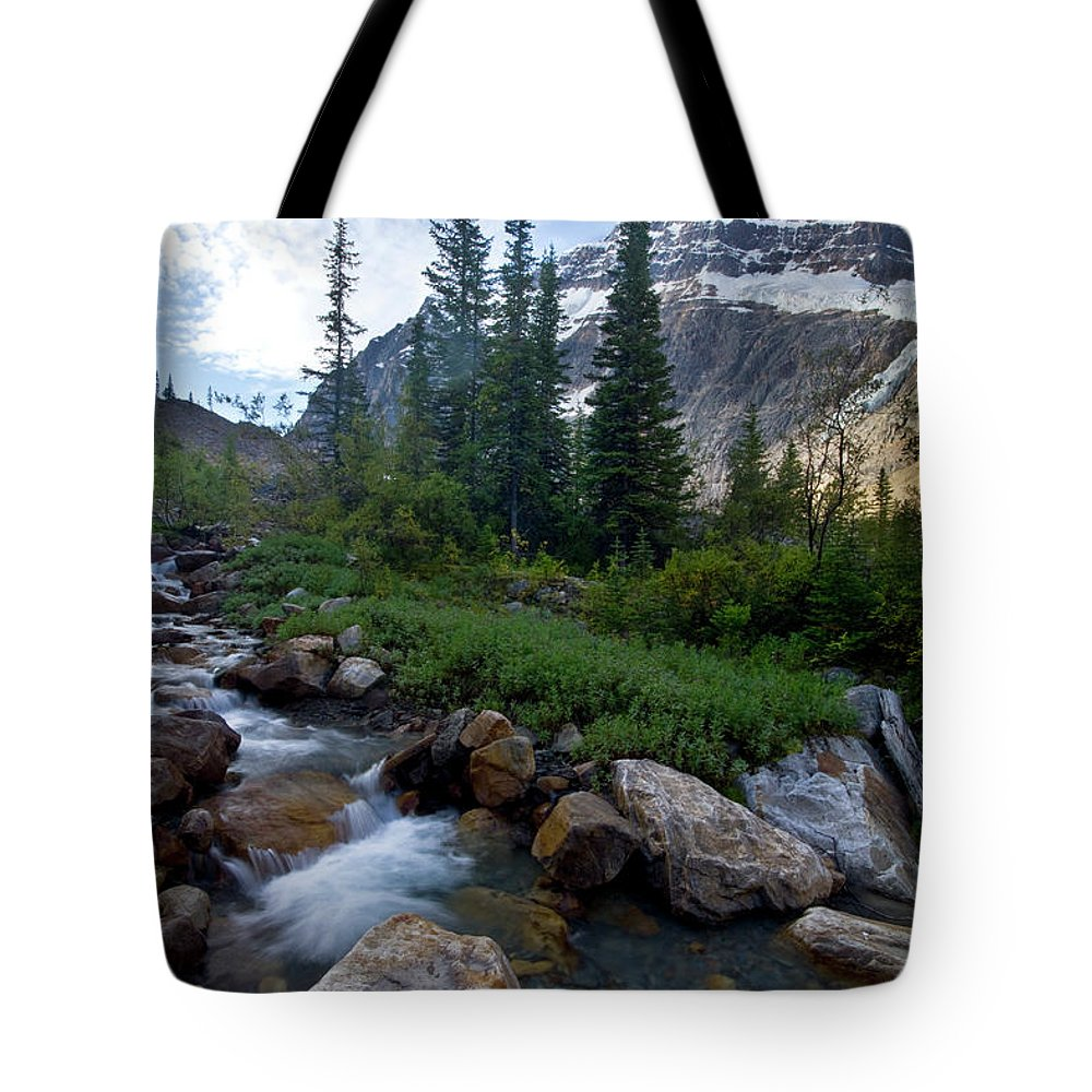 Tranquility Tote Bag featuring the photograph Mount Edith Cavell by Visit Www.ronmiller.com