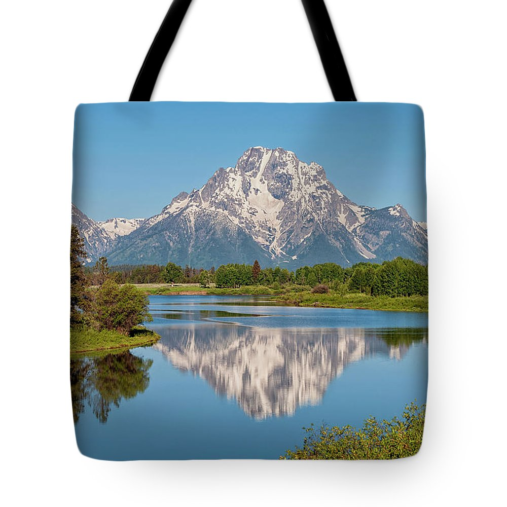 Mount Moran Tote Bag featuring the photograph Mount Moran On Snake River Landscape by Brian Harig