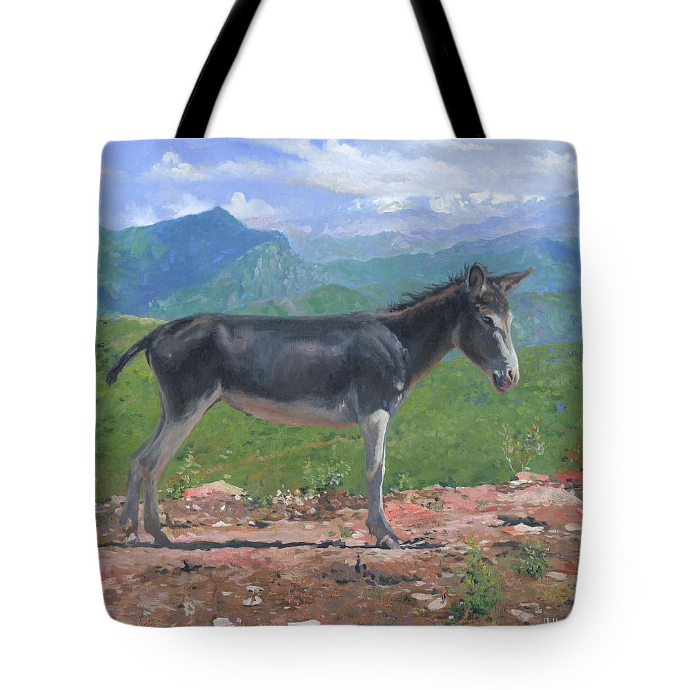 Mountain Tote Bag featuring the painting Mountain Donkey by Denis Chernov