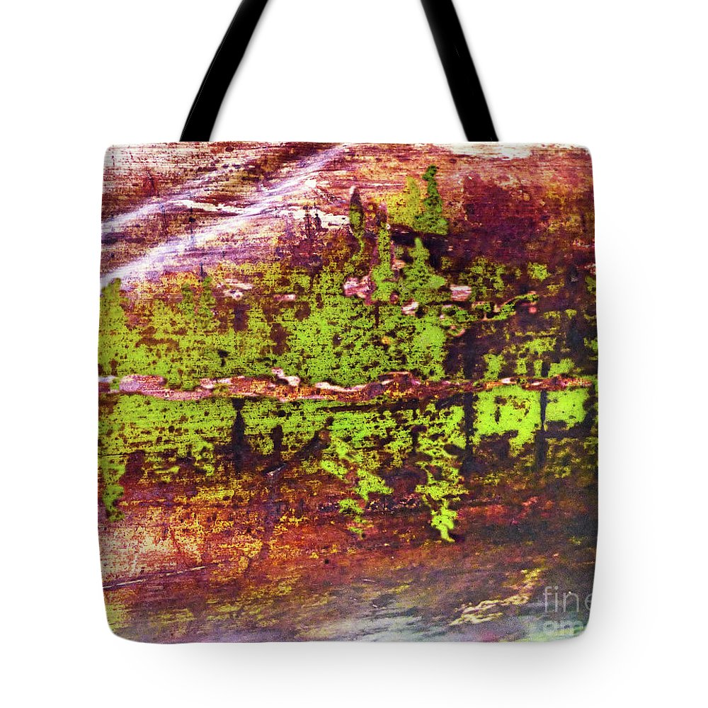 Landscape Tote Bag featuring the mixed media Mountain Lake Reflections 300 by Sharon Williams Eng