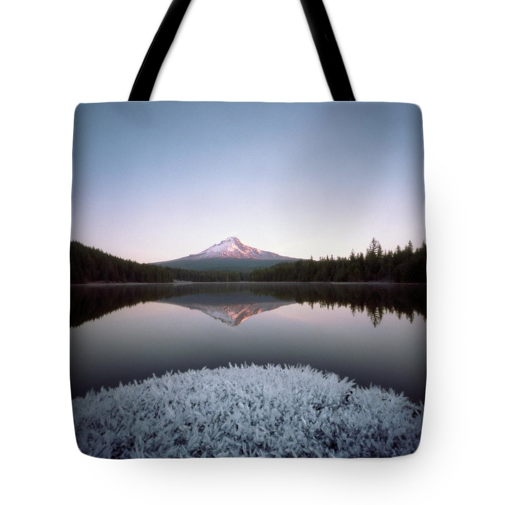 Scenics Tote Bag featuring the photograph Mt. Hood Lit By Sunrise by Wendi Andrews