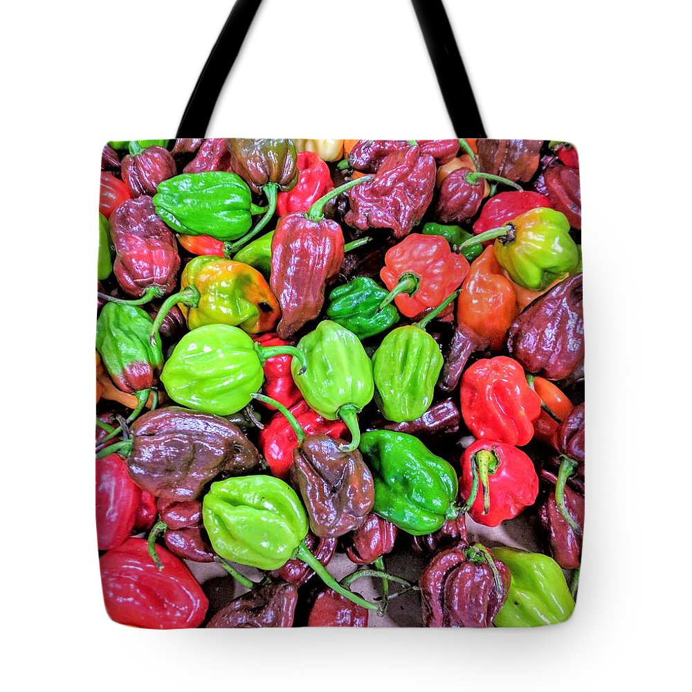 Multi Hot Peppers Tote Bag featuring the photograph Multi Mini Hot Pepper Variety by Jane Butera Borgardt