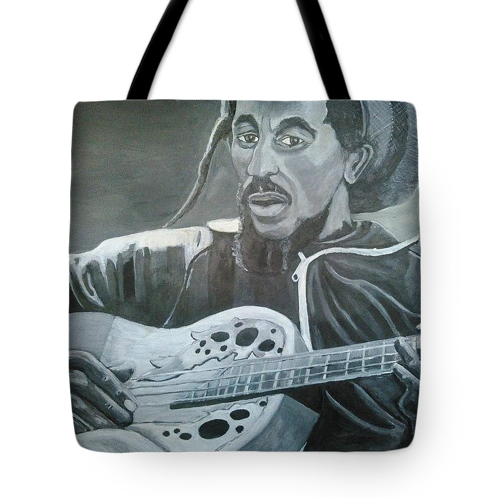 Bob Marley Painting Tote Bag featuring the painting Musical Man by Andrew Johnson