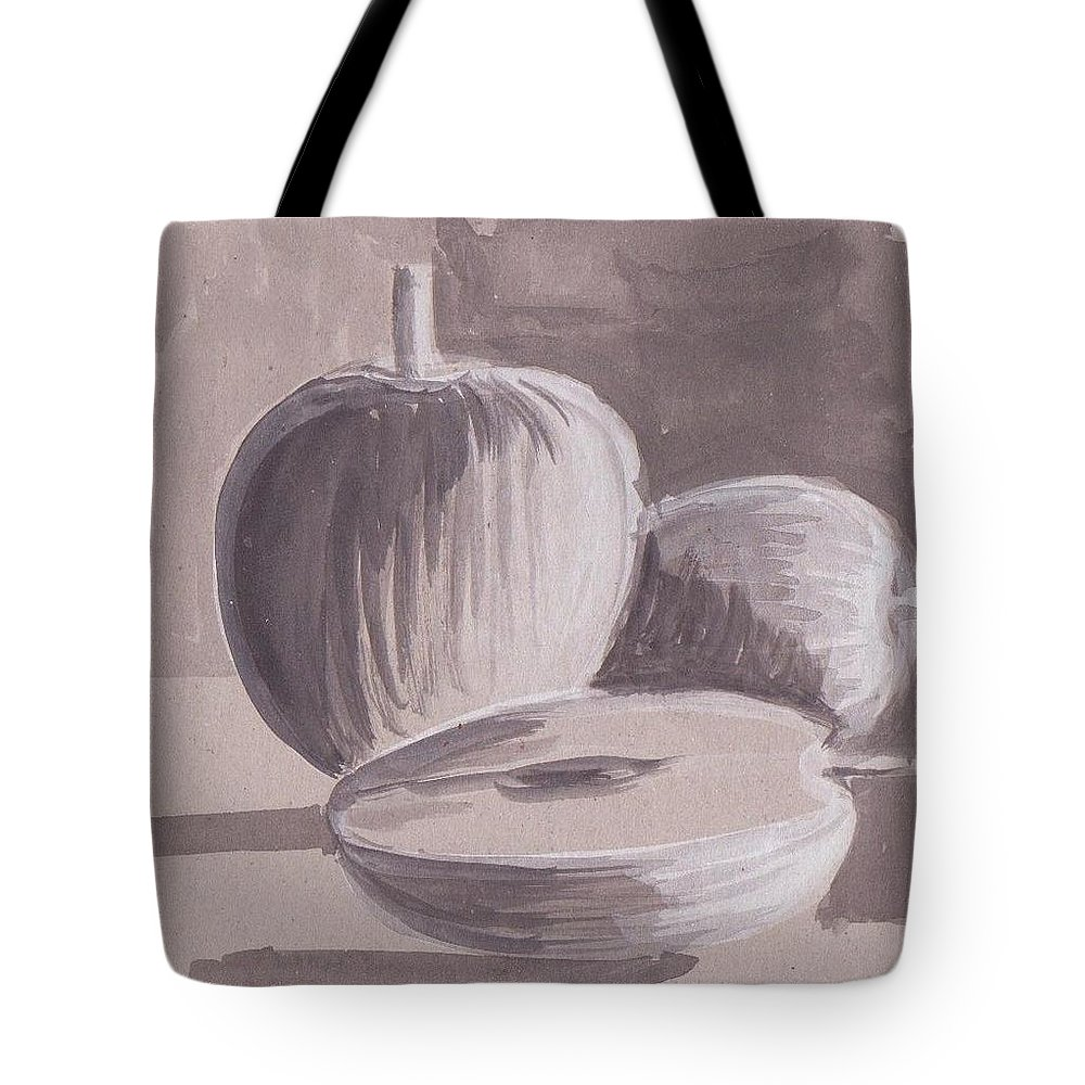 Water Color On Paper Tote Bag featuring the drawing My Apples by Mustafa Attari