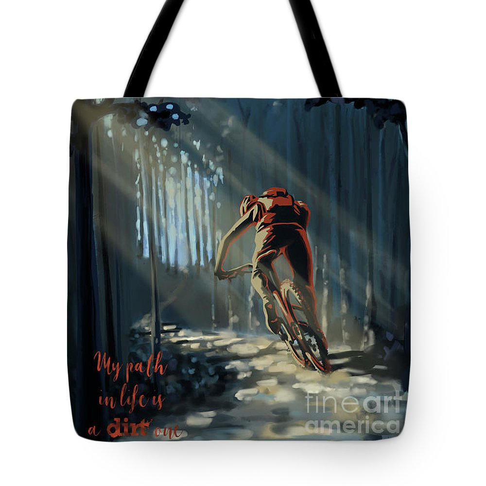 Mountainbike Art Tote Bag featuring the painting My dirt path by Sassan Filsoof