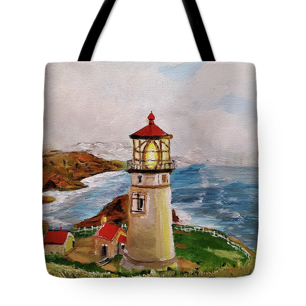 Lighthouse Tote Bag featuring the painting My Lighthouse by Joan M Anderson
